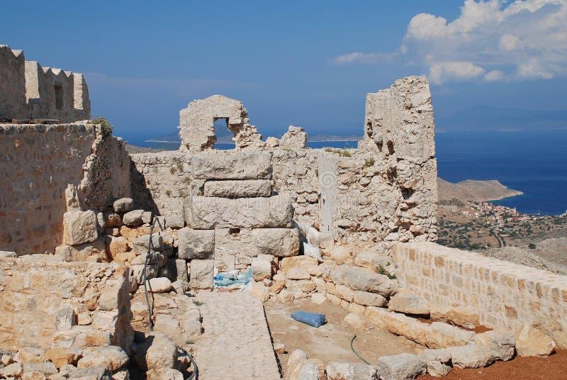 烈士城堡废墟,哈尔基岛海岛 图库摄影