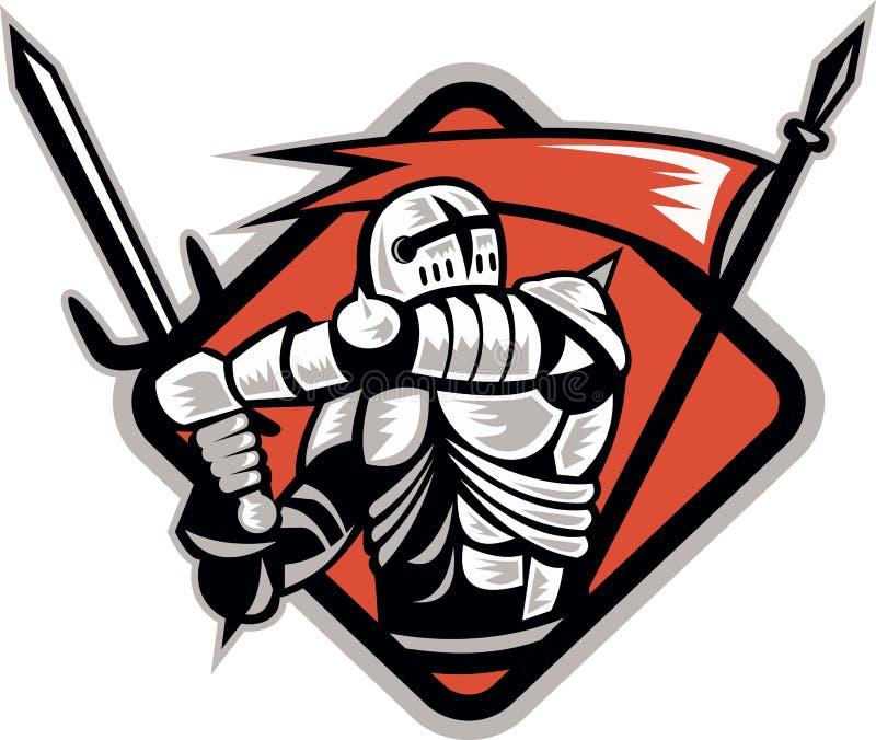 烈士标志骑士减速火箭的剑 向量例证