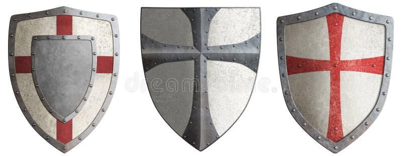 烈士的金属盾设置了3d例证 向量例证