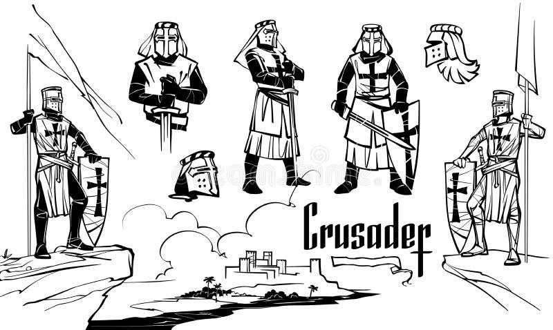 烈士的骑士以各种各样的姿势 皇族释放例证