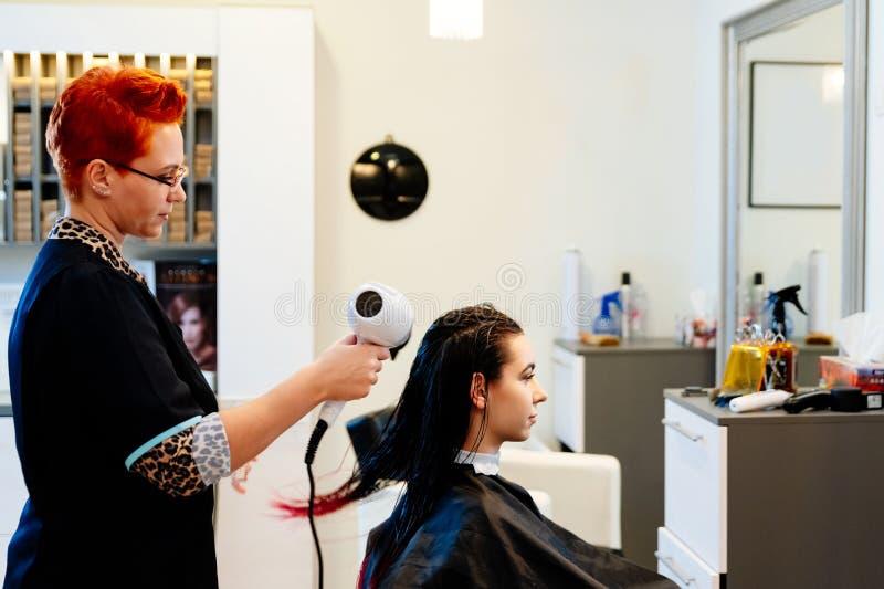 烘干年轻女人在沙龙的妇女美发师顾客头发 免版税库存照片