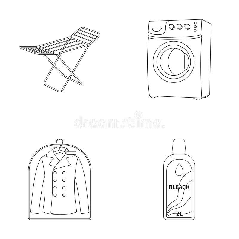 烘干机,洗衣机,干净的衣裳,漂白 在概述样式的干洗集合汇集象导航标志股票 皇族释放例证