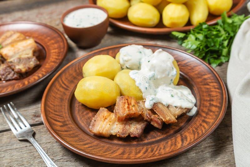 烘烤五花肉用煮沸的土豆和奶油沙司 免版税库存照片