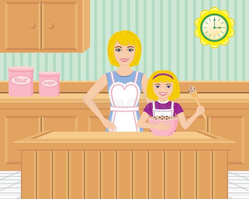 烘烤女儿厨房母亲 向量例证