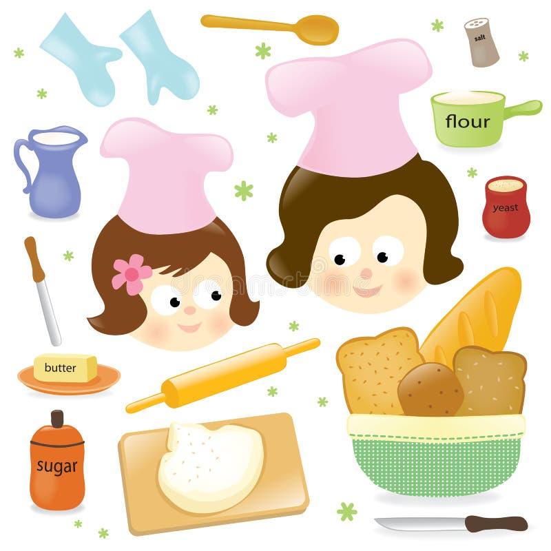 烘烤女儿母亲 库存例证