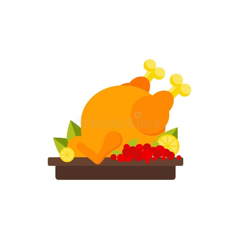 烘烤火鸡或鸡象,平展被隔绝 库存例证