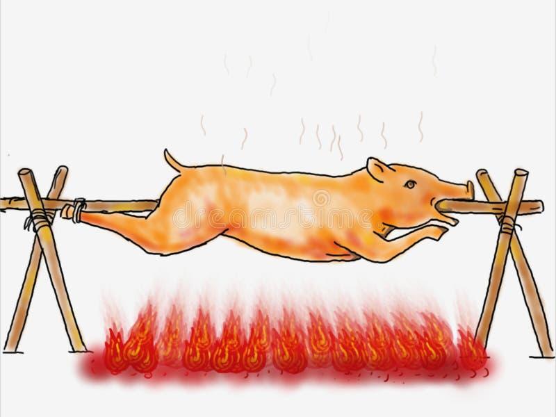 烘烤猪Lechon烤颜色图画 向量例证