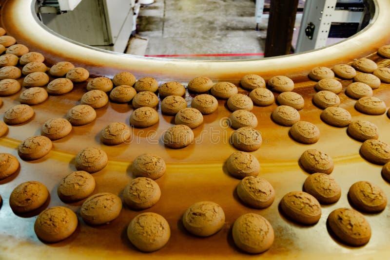 烘烤生产线 在传送带,关闭的曲奇饼 库存照片