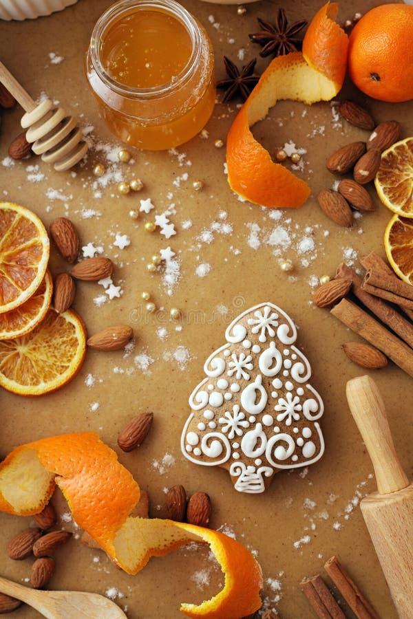 烘烤的圣诞节曲奇饼 库存照片