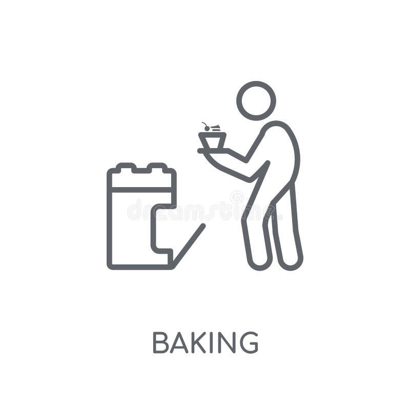 烘烤的线性象 现代在白色的概述烘烤的商标概念 向量例证