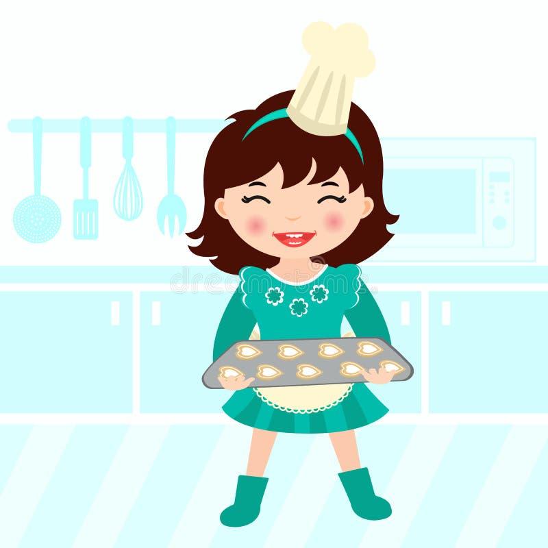 烘烤的逗人喜爱的女孩一点 向量例证