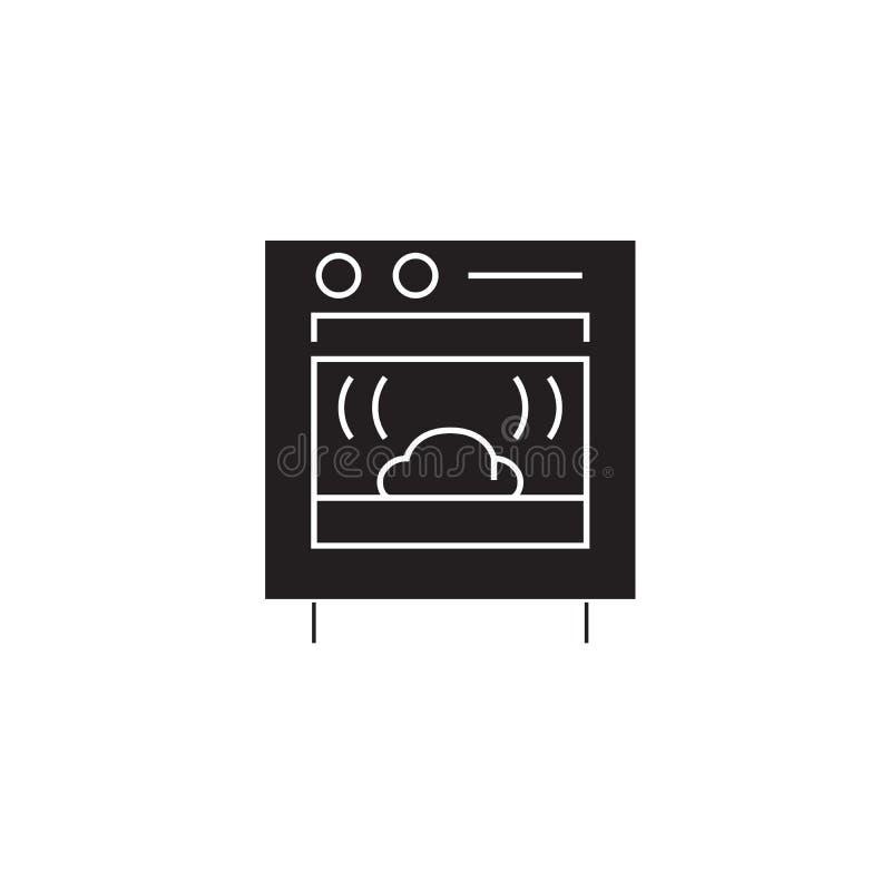 烘烤的面包黑传染媒介概念象 烘烤的面包平的例证,标志 向量例证