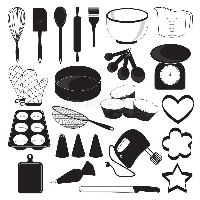 烘烤被设置的工具象 皇族释放例证