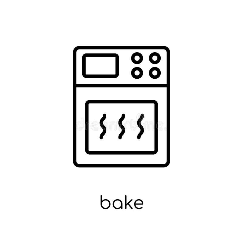 烘烤象 时髦现代平的线性传染媒介烘烤在白色b的象 向量例证