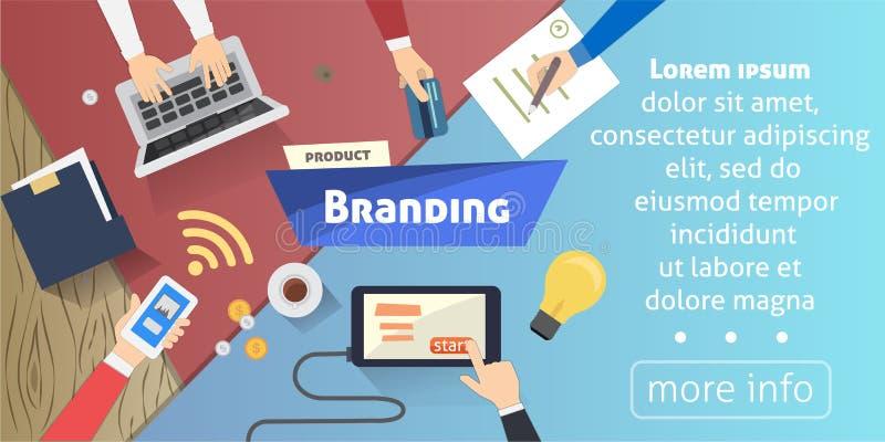 烙记的概念,创造性的想法,在桌面传染媒介例证的数字式营销 库存例证