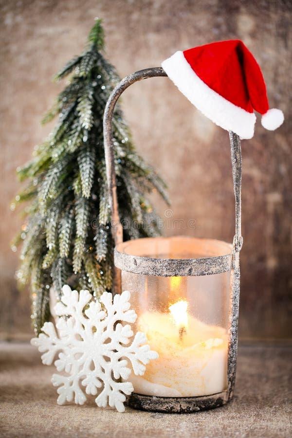 烛台 圣诞节灯笼 Cristmas装饰,招呼加州 库存照片