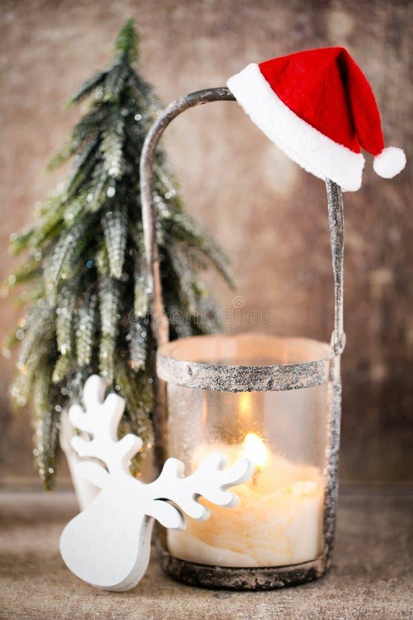 烛台 圣诞节灯笼 Cristmas装饰,招呼加州 库存图片