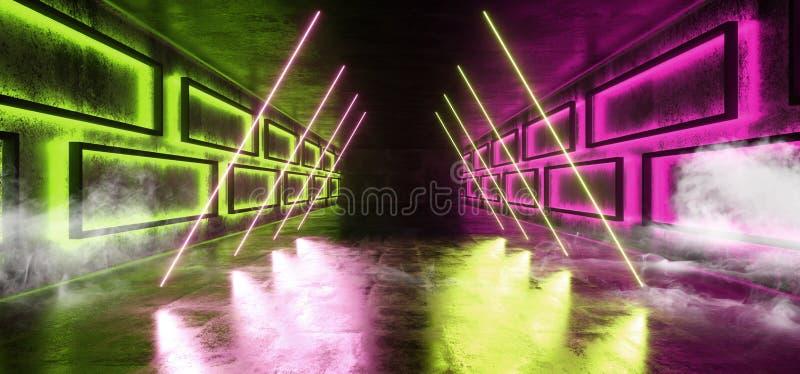 烟三角未来派科学幻想小说现代太空飞船霓虹发光的紫色绿色阶段隧道走廊地下具体难看的东西 向量例证