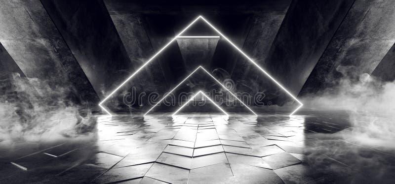 烟三角雾蒸汽具体难看的东西砖走廊隧道黑暗的霍尔反射性霓虹发光的科学幻想小说未来派现代道路 库存例证