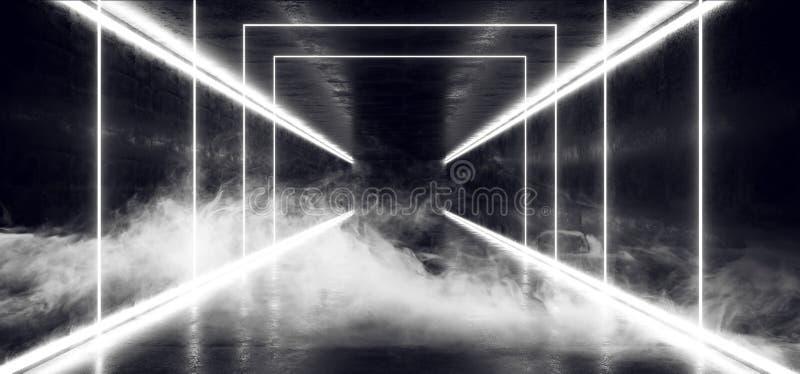 烟使白色蒸汽具体难看的东西砖走廊隧道黑暗的霍尔反射性霓虹发光的科学幻想小说未来派现代的道路模糊 向量例证