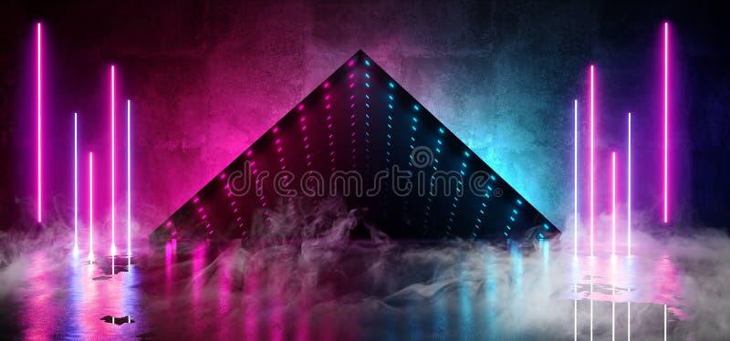 烟使霓虹发光的被带领的激光虚拟现实错觉无限焕发镜子箱子难看的东西具体反射性室模糊 库存例证