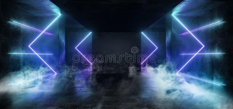 烟使黑暗的空的真正充满活力的萤光霓虹发光的紫色蓝色箭头模糊塑造了激光反射难看的东西混凝土 库存例证