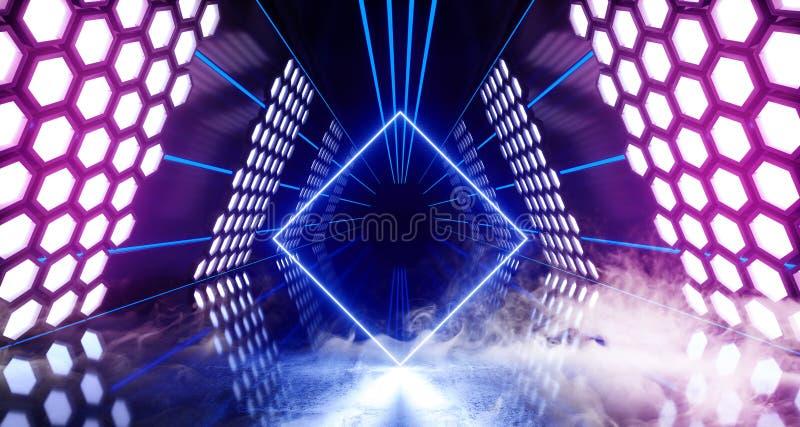 烟六角形点燃未来派霓虹被带领的激光发光的紫色蓝色白色充满活力的虚拟现实三角形状的隧道的科学幻想小说 向量例证