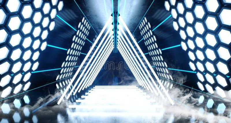 烟六角形点燃未来派霓虹被带领的激光发光的蓝色白色充满活力的虚拟现实三角形状的隧道的科学幻想小说 库存例证