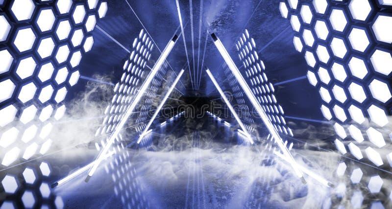 烟六角形点燃未来派霓虹被带领的激光发光的蓝色白色充满活力的虚拟现实三角形状的隧道的科学幻想小说 皇族释放例证