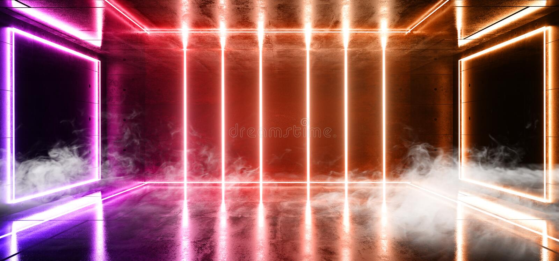 烟具体难看的东西砖走廊隧道黑暗的霍尔反射性霓虹发光的科学幻想小说未来派现代道路紫色桔子 向量例证