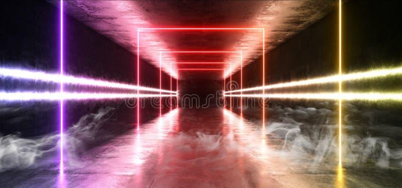 烟具体难看的东西砖走廊隧道黑暗的霍尔反射性霓虹发光的科学幻想小说未来派现代道路紫色蓝色黄色 库存例证