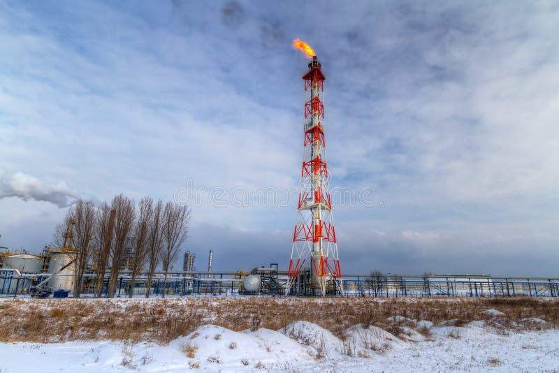 烟囱格但斯克石油波兰rafinery 免版税图库摄影