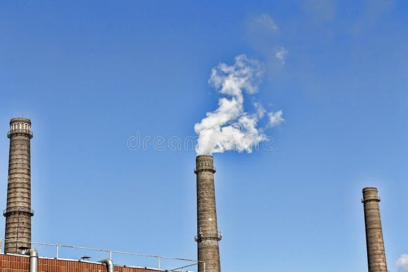 烟囱,污染,天空,蒸汽,工厂,烟,二氧化碳, 免版税库存照片