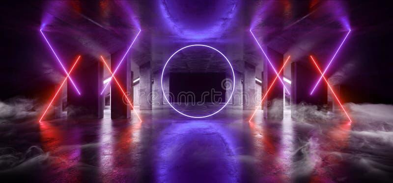 烟圈子焕发科学幻想小说氖现代未来派充满活力的焕发紫色蓝色橙色激光展示阶段轨道道路入口门 库存例证