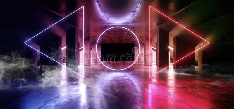 烟圈子焕发科学幻想小说氖现代未来派充满活力的焕发紫色蓝色橙色激光展示阶段轨道道路入口门 向量例证