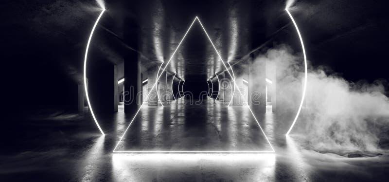 烟圈子霓虹白色发光的三角科学幻想小说未来派真正太空飞船摘要三角光滑的金属混凝土难看的东西黑暗 库存例证