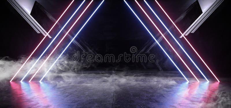 烟圈子霓虹蓝色紫色发光的三角科学幻想小说未来派真正太空飞船摘要三角光滑的金属混凝土难看的东西 皇族释放例证