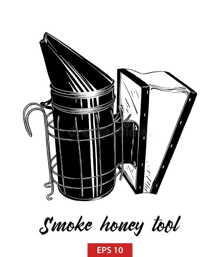 烟在白色背景在黑的蜂蜜工具手拉的剪影隔绝的 详细的葡萄酒蚀刻样式图画 向量例证
