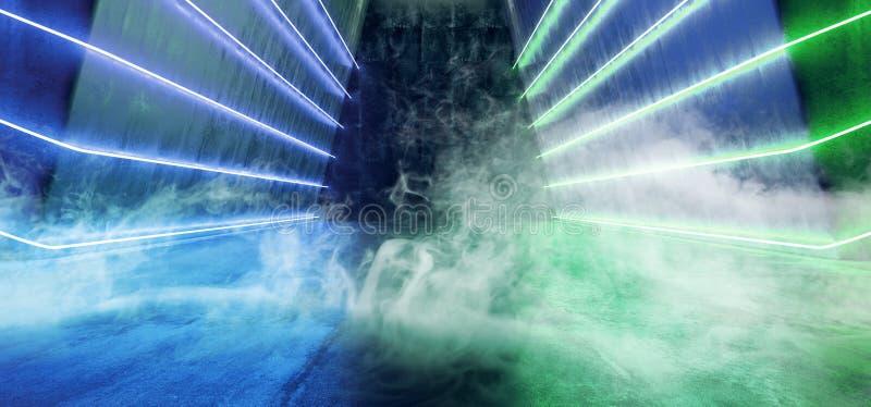烟有雾的激光霓虹科学幻想小说现代未来派光跳舞展示外籍人黑暗的空的难看的东西反射性具体发光青绿 向量例证