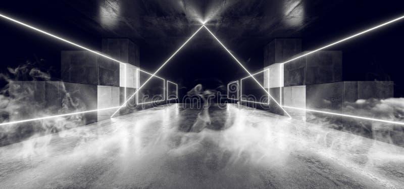 烟未来三角霓虹灯图表发光的白色真正科学幻想小说未来派隧道演播室阶段建筑车库指挥台 向量例证