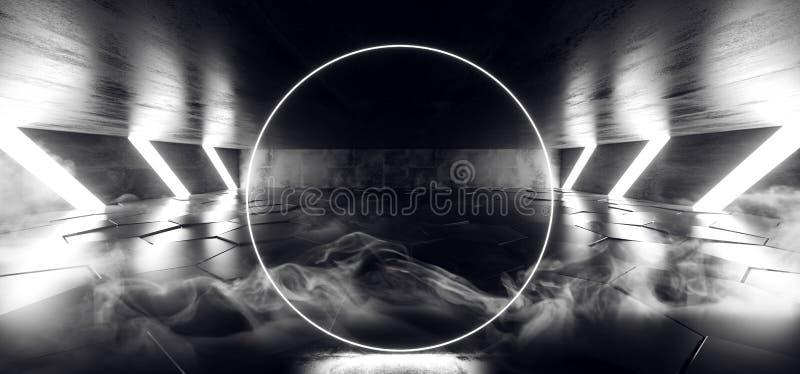 烟未来圈子科学幻想小说未来派霓虹灯发光的白色铺磁砖的六角形地板具体难看的东西暗室真正走廊俱乐部 库存例证