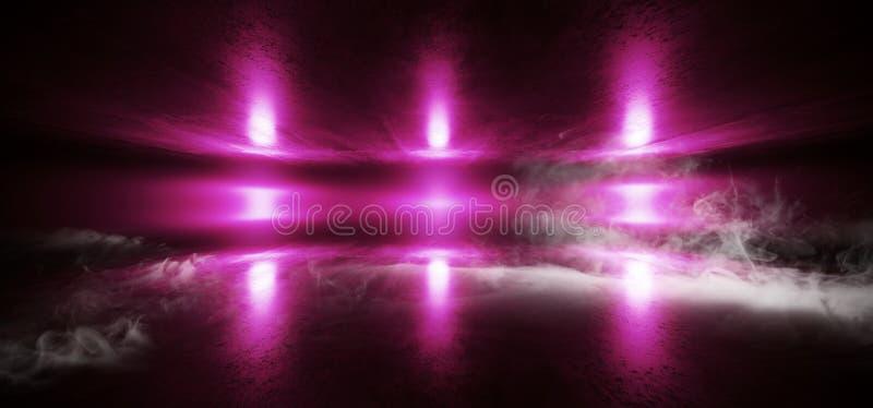 烟未来派太空飞船阶段科学幻想小说霓虹发光的紫色激光混乱摘要真正萤光黑暗的难看的东西具体隧道 皇族释放例证