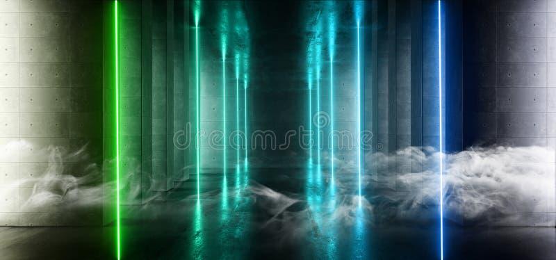 烟未来派画廊地下室发光的垂直的霓虹激光束紫色绿色难看的东西混凝土水泥黑暗的空的科学幻想小说 皇族释放例证