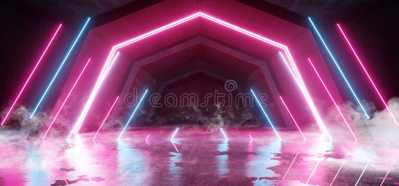 烟未来派科学幻想小说曲拱紫色蓝色激光霓虹灯发光的黑暗的难看的东西反射性具体隧道走廊走廊外籍人 库存例证