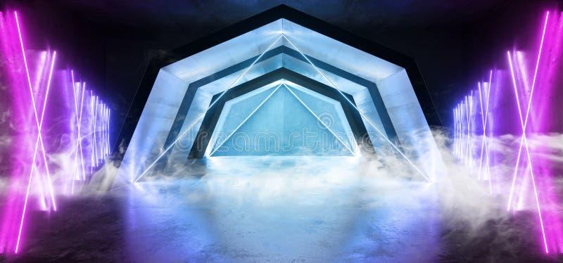烟未来派科学幻想小说曲拱紫色蓝色激光霓虹灯发光的黑暗的难看的东西反射性具体隧道走廊走廊外籍人 向量例证