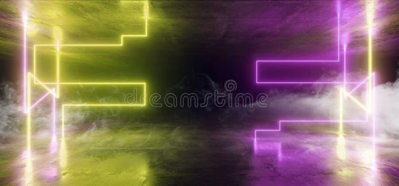 烟未来派科学幻想小说激光霓虹形状发光的轻的充满活力的紫色绿色阶段夜总会背景难看的东西具体黑暗 向量例证