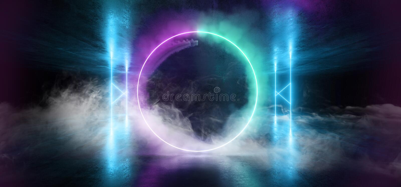 烟未来派科学幻想小说激光霓虹形状发光的轻的充满活力的紫色蓝色阶段夜总会背景难看的东西具体黑暗 皇族释放例证