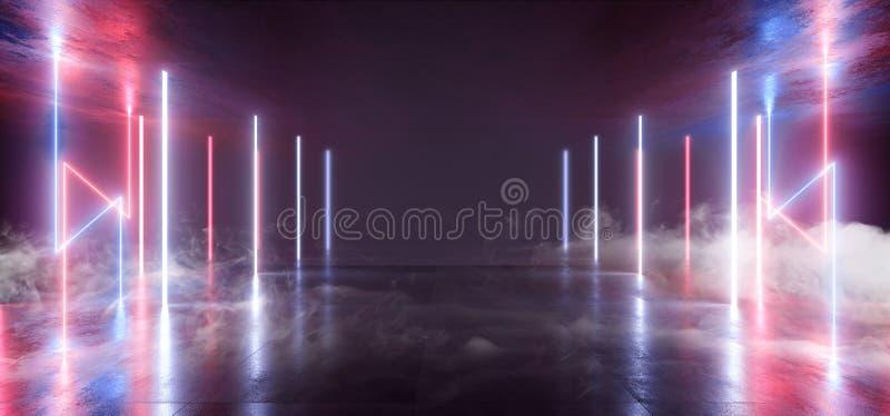 烟未来派科学幻想小说激光霓虹形状发光的轻的充满活力的紫色蓝色阶段夜总会背景难看的东西具体黑暗 向量例证