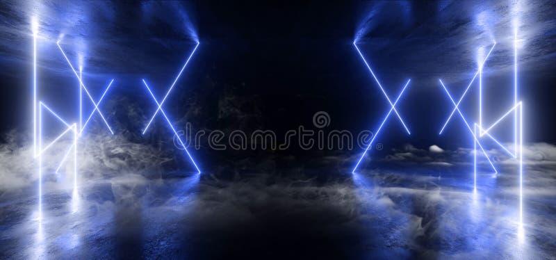 烟未来派科学幻想小说激光霓虹形状发光的轻的充满活力的蓝色阶段夜总会背景难看的东西具体黑暗的隧道霍尔 皇族释放例证