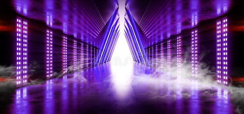 烟激光紫色蓝色展示阶段霓虹减速火箭的现代科学幻想小说未来派典雅的未来具体走廊三角塑造黑暗倒空 库存例证